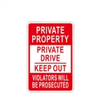 Aluminum Private Property No Trespassing Sign - 12 x 18 Inches - ALEKO
