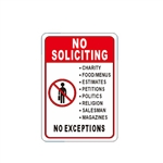 Aluminum No Soliciting Sign - 7 x 10 Inches - ALEKO