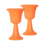 ALEKO 2PP300AHOR Tall Orange Plastic Garden Plant Urn, Lot of 2