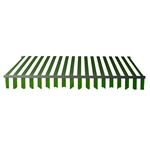 Retractable Patio Awning 12x10 Feet - Green and White Stripes with Black Frame - ALEKO