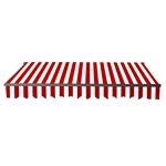 Retractable Patio Awning 12x10 Feet - Red and White Stripes with Black Frame - ALEKO