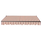 Motorized Retractable Black Frame Patio Awning 10 x 8 Feet - Multi-Striped Red - ALEKO