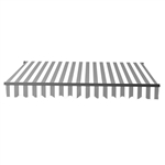 Motorized Retractable Black Frame Patio Awning 13 x 10 Feet - Gray and White Stripes - ALEKO