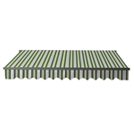 Motorized Retractable Black Frame Patio Awning 13 x 10 Feet - Multi-Striped Green - ALEKO