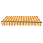 Motorized Retractable Black Frame Patio Awning 13 x 10 Feet - Multi-Striped Yellow - ALEKO