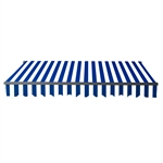 Motorized Retractable Black Frame Patio Awning 20 x 10 Feet - Blue and White Stripes - ALEKO