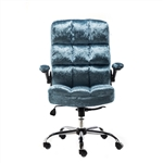 Upholstered Fabric Luxury Office Chair - Metallic Blue - ALEKO