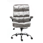 Upholstered Fabric Luxury Office Chair - Metallic Silver - ALEKO