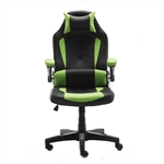 Ergonomic Reclining High-Back Office or Gaming Chair with Adjustable Headrest and Lumbar Support - PU Leather - Green and Black - ALEKO