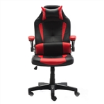 Ergonomic Reclining High-Back Office/Gaming Chair with Adjustable Headrest and Lumbar Support - PU Leather - Red and Black - ALEKO
