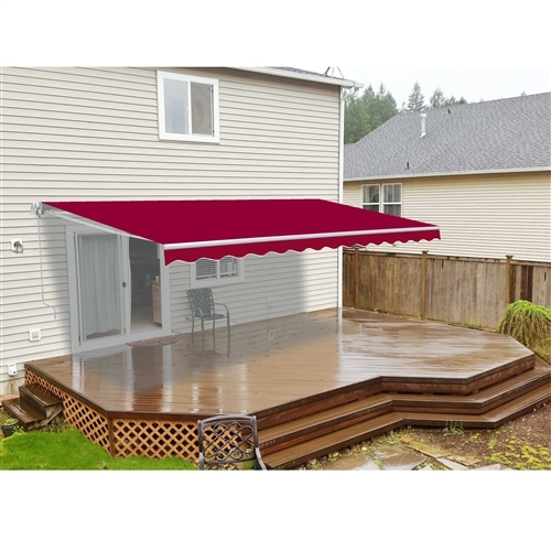 ALEKO® 10x8 Ft Retractable Patio Awning, BURGUNDY Color
