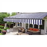 Half Cassette Retractable Patio Awning - 12 x 10 Ft. (3.6 x 3 m) - Blue and White Stripes- ALEKO