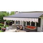 Half Cassette Retractable Patio Awning - 12 x 10 Ft. (3.6 x 3 m) - Gray and White Stripes- ALEKO