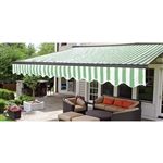 Half Cassette Retractable Patio Awning - 12 x 10 Ft. (3.6 x 3 m) - Green and White Stripes- ALEKO