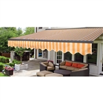 Half Cassette Retractable Patio Awning - 12 x 10 Ft. (3.6 x 3 m) - Multi Striped Yellow - ALEKO