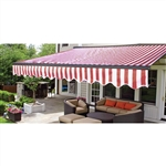 Half Cassette Retractable Patio Awning - 12 x 10 Ft. (3.6 x 3 m) - Red and White Stripes- ALEKO