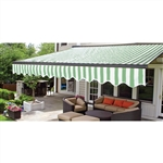 Half Cassette Retractable Patio Awning - 13 x 10 Ft. (3.9 x 3 m) - Green and White Stripes - ALEKO