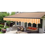 Half Cassette Retractable Patio Awning - 13 x 10 Ft. (3.9 x 3 m) - Multi-Striped Yellow - ALEKO