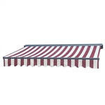 Half Cassette Retractable Patio Awning - 13 x 10 Ft. (3.9 x 3 m) - Multi-Striped Red - ALEKO