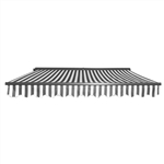 Half Cassette Motorized Retractable Patio Awning - 10 x 8 Feet - Gray and White Stripes - ALEKO
