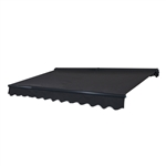 Half Cassette Motorized Retractable Patio Awning - 12 x 10 Feet - Black - ALEKO