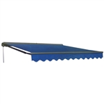 Half Cassette Motorized Retractable Patio Awning - 12 x 10 Feet - Blue - ALEKO