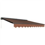 Half Cassette Motorized Retractable Patio Awning - 12 x 10 Feet - Brown - ALEKO