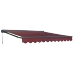 Half Cassette Motorized Retractable Patio Awning - 12 x 10 Feet - Burgundy - ALEKO