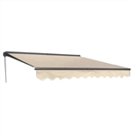 Half Cassette Motorized Retractable Patio Awning - 12 x 10 Feet - Ivory - ALEKO