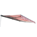 Half Cassette Motorized Retractable Patio Awning - 12 x 10 Feet - Multi-Striped Red - ALEKO