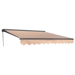 Half Cassette Motorized Retractable Patio Awning - 12 x 10 Feet - Sand - ALEKO