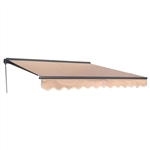 Half Cassette Motorized Retractable Patio Awning - 13 x 10 Feet - Sand - ALEKO