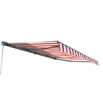 Half Cassette Motorized Retractable Patio Awning - 16 x 10 Feet - Multi-Striped Red - ALEKO