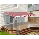Motorized Retractable Patio Awning - 10x8 Feet - Red and White Striped - ALEKO