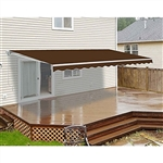 Motorized Retractable Patio Awning 12x10 Feet - Brown