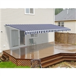 Motorized Retractable Patio Awning 12x10 Feet - Blue and White Striped