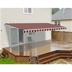 Motorized Retractable Patio Awning - 8 x 6.5 Feet - Multi-Stripe Red - ALEKO
