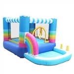 Outdoor Inflatable Bounce House with Built-In Ball Pit and Blower - Rainbow Color Design - ALEKO