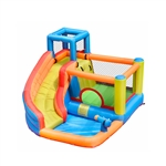 Outdoor Inflatable Bounce House with Built-In Water Hose and Pool - Multi Color - ALEKO