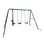 Outdoor Sturdy Child Swing Set with 2 Swings and 1 Glider - Blue and Green