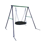 Outdoor Sturdy Child Swing Set with Saucer Mat - Blue and Green - ALEKO