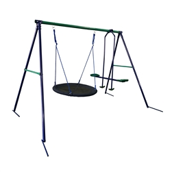 Outdoor Sturdy Child Swing Set with Saucer Mat and Glider - Blue and Green - ALEKO