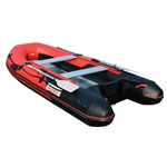 ALEKO®  Inflatable Fishing Red and Black Boat - 12.5 Ft (3.8 m) - Aluminum Floor