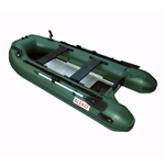 ALEKO® BTF320GR PRO Fishing Boat 10.5 Feet (3.2 m) with Aluminum Floor 4 Person Inflatable Boat with Fishing Rod Holders and Front Board, Green
