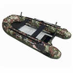 ALEKO® BTF380CM PRO Fishing Boat Raft 12.5 Feet (3.8 m) with Aluminum Floor 6 Person Inflatable Boat with Fishing Rod Holders and Front Board, Camouflage