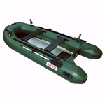 ALEKO® BTF380GR PRO Fishing Boat Raft 12.5 Feet (3.8 m) with Aluminum Floor 6 Person Inflatable Boat with Fishing Rod Holders and Front Board, Dark Green