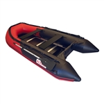 ALEKO® BTSDWD320RBK Inflatable 4 Person Motor Fishing Boat Raft 10.5 Feet (3.2 m) with Wood Floor, Red and Black