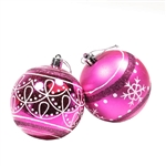 Medium Bulb Ornament Holiday Set with Decorative Box - 9 Piece - Hot Pink - ALEKO