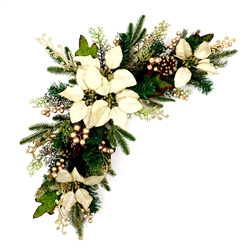 Decorative Arched Holiday Christmas Swag - Green and Ivory - ALEKO