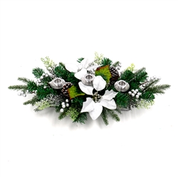 Garland Swag Centerpiece with 3 Candlestick Holders - Green and Silver - ALEKO